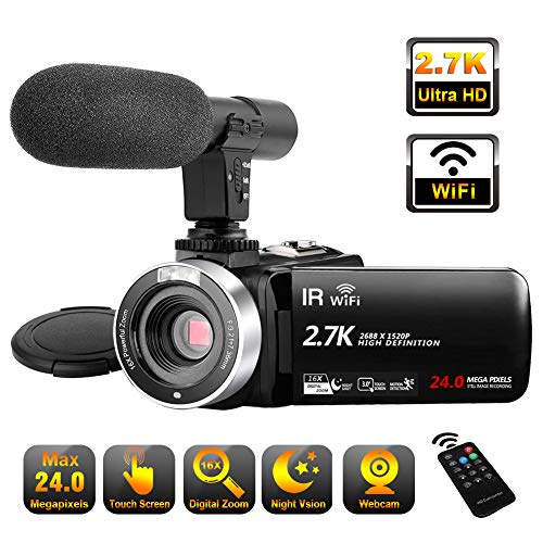 Video Camera Camcorder with Microphone, 2.7K Ultra HD 30FPS 24.0MP WiFi IR Night Vision 16X Digital Zoom YouTube Camera Recorder 3.0″ LCD Touch Screen Vlogging Camera (V8A)