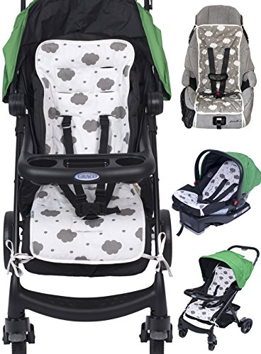 Reversible Pure Cotton Universal Baby Seat Liner for Stroller, Car Seat, Jogger, Bouncer | Thick Cushion | Supports Newborns, Infants, and Toddlers | Quick and Easy (Newborn Pure Cotton)