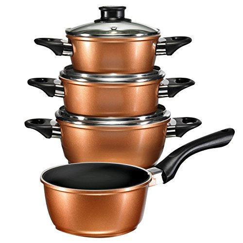 IN-HOME Supertherm Black Ceramic Copper Style Cookware 10 Piece set Induction