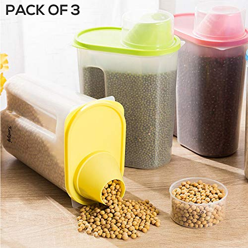 Kurtzy Cereal Dispenser Jar Storage Container Box with Lid, Set of 3, 2500ml, Multicolour Price & Reviews