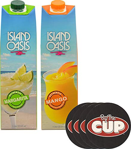- Island Oasis Drink Mix Variety, Margarita and Mango 1 Liter Each, with Set of By The Cup Coasters