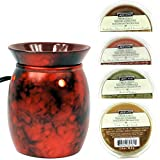 yankee garbage can - 4 Pack Tart Melts and Candle Wax Melt Warmer Bundle Cranberry Mottled Red Electric Fragrance Aroma and Melts Gift Set Vanilla, Spice, Gardenia