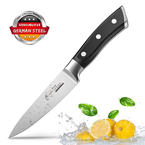 Paring Knife Fruit Knife Peeling Knife,4 Inch German HC Stainless Steel Sharp Blade with Non Slip Ergonomic Handle