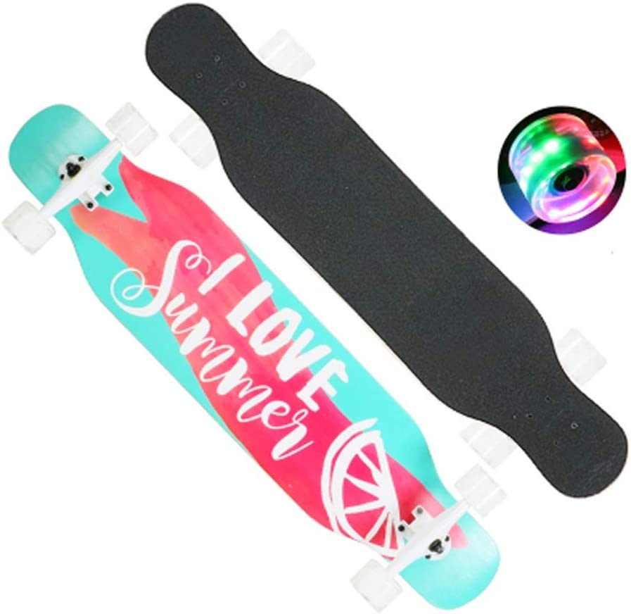 Sljj 大人のための完全なスケートボード、少年少女のためのカラフルなLEDライトホイールを備えた若者のスケートボードクルーザー (Color : B) B