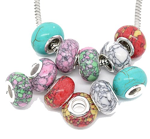 Rockin Beads Brand, 20 Mosaic Turquoise Spacer Beads Fit European Bracelets 14x9mm with 4.5mm Hole 5 Designs
