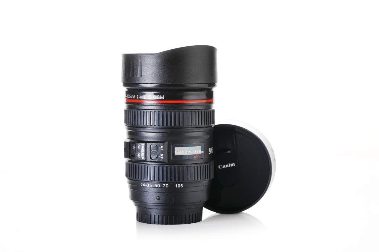 Flintstop Plastic Camera Lens Shaped Coffee Mug With Lid, 350ml (Black)