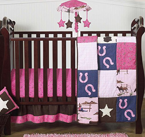 Western Horse Cowgirl Pink and Brown Baby Girl Bedding 4 Piece Crib Set Without Bumper ()