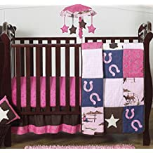 Western Horse Cowgirl Pink and Brown Baby Girl Bedding 4 Piece Crib Set Without Bumper