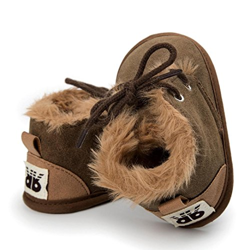 Clode® Baby Girl Boys Frenulum Baumwolle gepolsterte Schuhe Sneaker Anti Rutsch Schuhe Braun