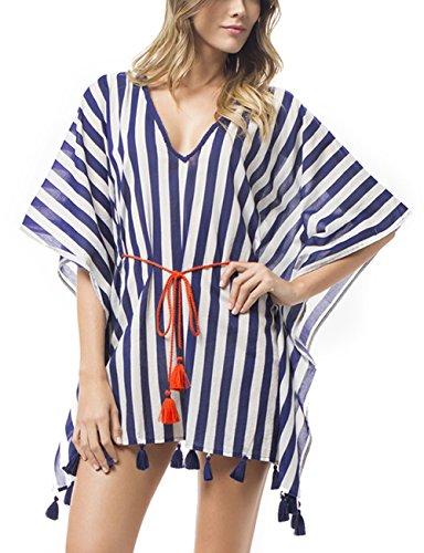 Bsubseach Women Loose V Neck Short Sleeve Plus Size White Blue Striped Beach Swimwear Swimsuit Cover Up Dress