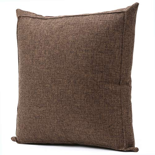 Jepeak Burlap Linen Throw Pillow Case Cushion Cover Farmhouse Decorative Solid Square Pillowcase, Thick, Luxury, Handmade with Invisible Zipper for Sofa Couch Bed (24 x 24 Inches, Dark Brown) ()