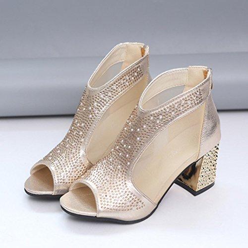 de y Remache Clásicos Tacón Mujer Hilado Altas Zapatos Fiesta Sandalias con Zapatos Zapatos 2018 de Ancho de Vestir Gold de Boca Tacón Pescado Verano PAOLIAN Cuña para Moda Neto de Boda qfwFH4Uacw