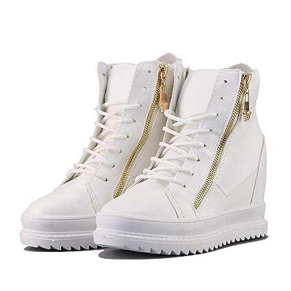 YSFU Zapatillas Zapatillas De Deporte De Mujer Zapatillas De Lona Blancas Altas Plataforma Zapatos Deportivos De