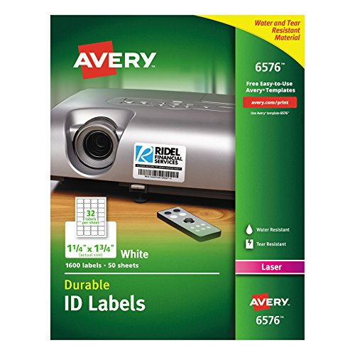 Avery Durable White Cover up ID Labels for Laser Printers, 1.25