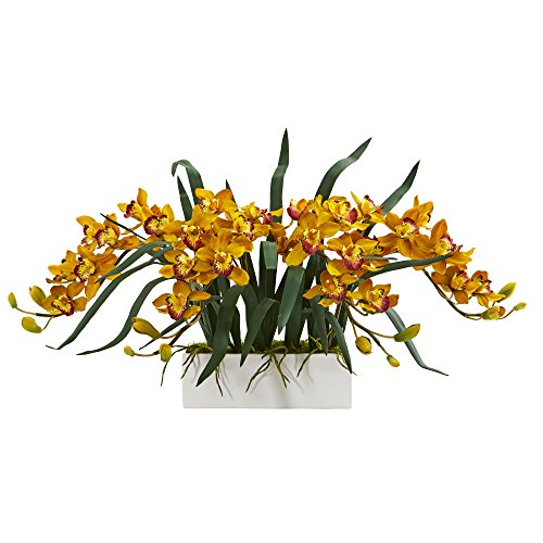 Nearly Natural 1563-YL Cymbidium Arrangement in White Vase Artificial Plant ()