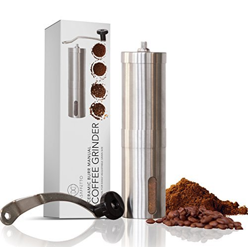HENSUN Manual Coffee Grinder With Adjustable Ceramic Burrs, Portable Handheld Mini Conical Burr Mill for French Press, Acrylic Jars and Stainless Steel Handle by HENSUN (Image #2)