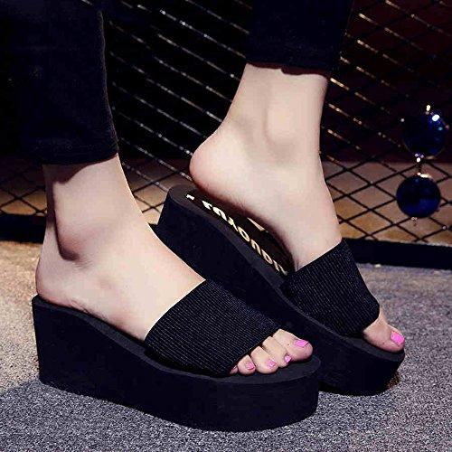 CHANCLAS SANDALS Zapatos antideslizantes de la playa del ocio de los deslizadores de la parte inferior plana del verano de los 7cm para las mujeres (18-40 años) elegante ( Color : Negro , Tamaño : 39  Negro