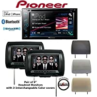Pioneer AVH-280BT In Dash Double din DVD Receiver w/ Built in Bluetooth & 2 9 Headrest Monitors by Concept CLS903M and FREE SOTS Air Freshener