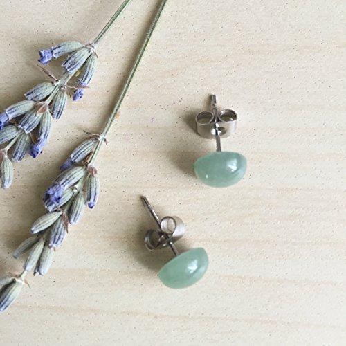 Green Aventurine Studs on Surgical Steel Earring posts. Light green gemstone studs Hypoallergenic earrings