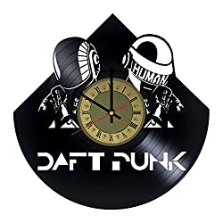 Daft Punk French Electronic Music Art Decor Vinyl Record Wall Clock - gift idea for girls boys sister and brother - home & office bedroom nursery room wall decor - customize your clock