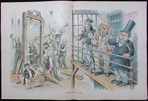 Movement Reform (Reform movement Hill Croker guillotine satire 1894 antique color Puck print)