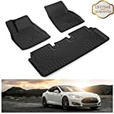 KIWI MASTER Floor Mats Liners Compatible for 2012-2019 Tesla Model S All Weather Protector Mat Front & Rear 2 Row Seat TPE Slush Liner Black