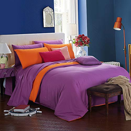 UOUL Sheet Set Cotton Bedding Does Not Fadel Comfort Solid Color Double-Sided Two-Bedroom Bedroom Dormitory Young Men and Women Single Queen Sizew,Orange Purple,5Ft Bed