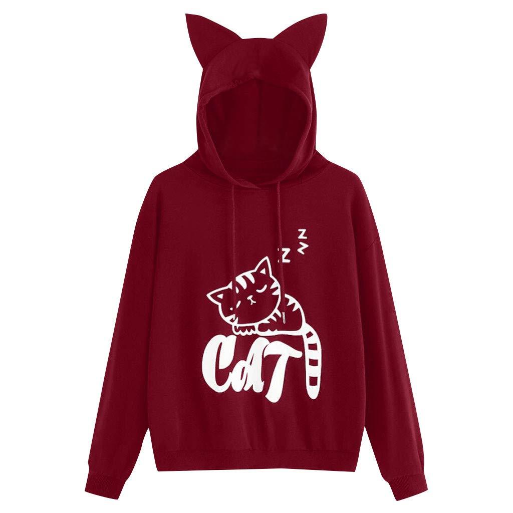 Women's Hoodie Sweatshirt Long Sleeve Cat Print Cute Hood Hooded Tops Pullover Shirt Tracksuit with Drawstring (L, Wine)