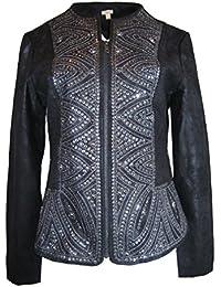 Faux-Leather Applique Jacket, Size-M