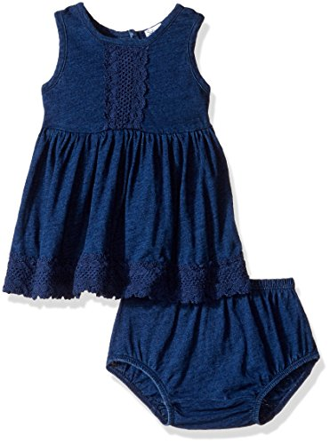 Splendid Baby Girls' Lace Trim Dress, Dark Stone, 3-6M by Splendid