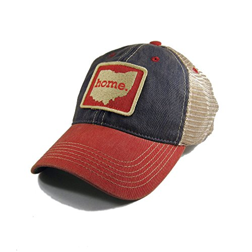(Homeland Tees Vintage Ohio Home Trucker Hat - Blue/Red Two-Tone)