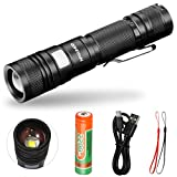 LED Tactical Flashlight CREE High Powered High Lumens USB Rechargeable Zoomable Flashlight