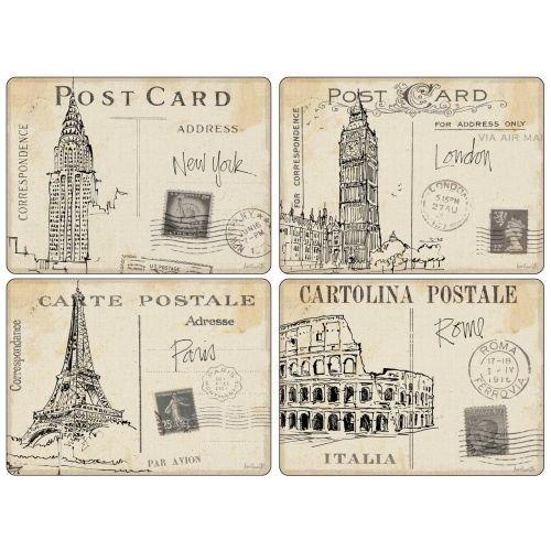 (4 Premium Hardboard Pimpernel Placemats Postcard Sketches)