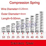 Kamas 50pcs/Lot 0.25 * 4 * 5-50 Small Coil Compression Spring,Stainless Steel Springs,Small Spot Micro Compression Spring for 3D Printer - (Length: 10mm)