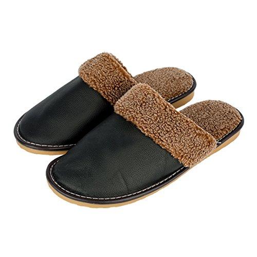 Haisum Heren Winter Herfst Echt Leer Zachte Comfortabele Voering Gezellige Slip-on Bekleed Muilezel Huis Slippers Zwart