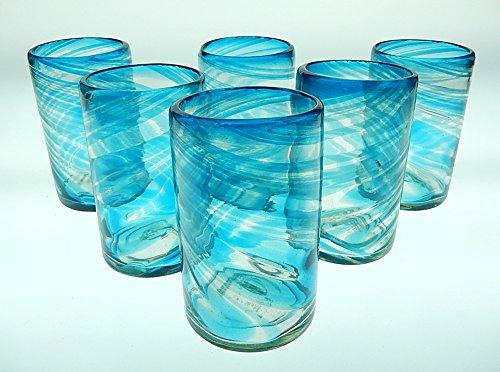Mexican Glass Turquoise/Aqua Marine Swirl Tumblers 16 Oz Set of 6