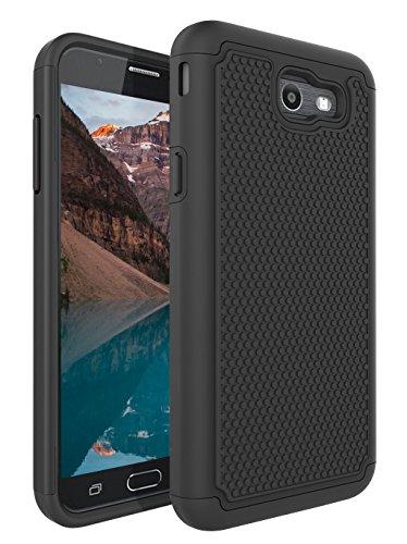 Galaxy J7 V / J7 2017 / J7 Prime / J7 Sky Pro Case, NOKEA [Shock Absorption] Drop Protection Hybrid Dual Layer Defender Protective Case Cover for Samsung Galaxy J7V / J7 2017 Released (Black) Press Released