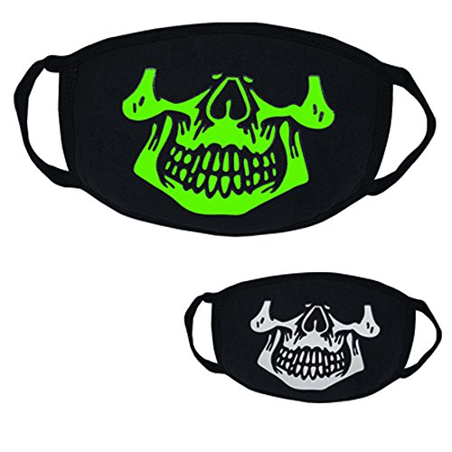Willsa Black Halloween Party Luminous Ghost Skull Half Face Scary Horror Mask