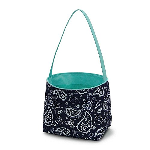 Fabric Bucket Basket Tote Bag - Children's Toys - Easter - Baby - Can Be Personalized (Paisley Navy - No Embroidery) -