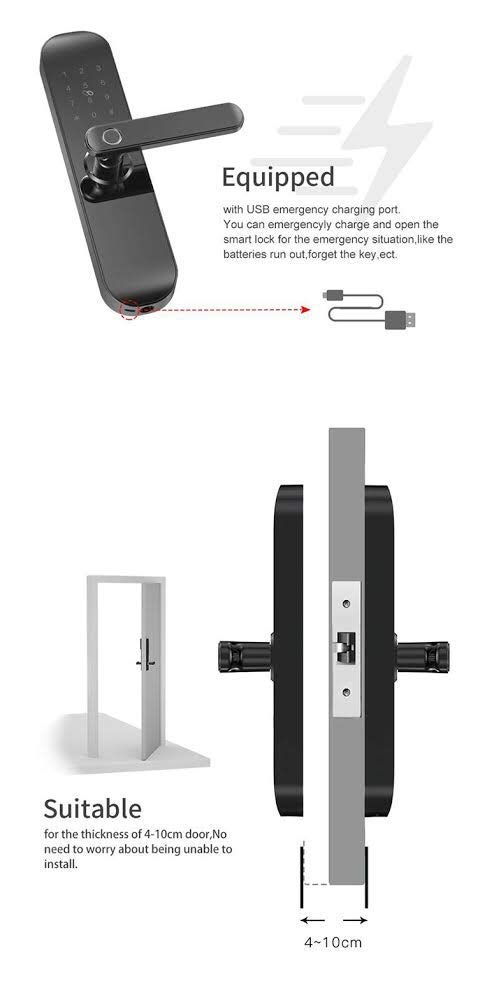 Smart WiFi Door Lock, Keyless Entry, Temporary Password RFID Access, Wireless App, Mechanical Key, Touch Screen Keypad, Digital Deadbolt Entrance, Remote Control Home Bedroom Hotels Apartment Airbnb by Smart Home Products (Image #4)