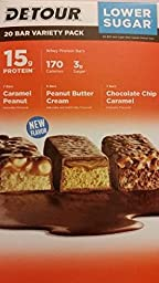 Detour Lower Sugar Protein Bar - Variety Pack - 1.5 Oz, 20 Count - 3 Flavors