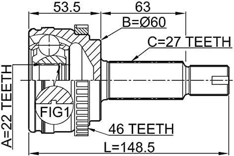 Febest Outer CV Joint 22X60X27 For Hyundai//Kia 495011M010