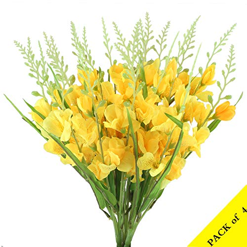 XYXCMOR Artificial Silk Flowers Yellow Gladiolus Hybridus Fake Floral Bouquets Indoor Outdoor Vase Filler Home Kitchen Patio Wedding Centerpieces Arrangements Farmhouse Decor Pack of 4 -