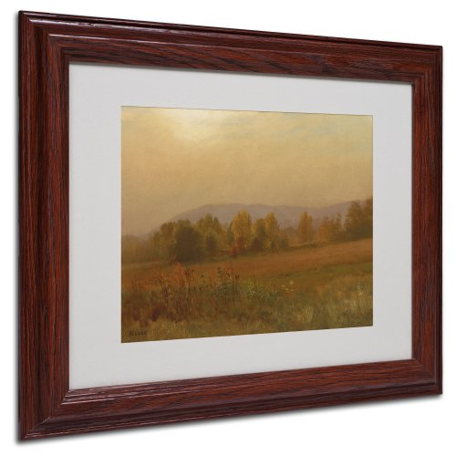 Canvas Frame Bierstadt - Autumn Landscape Canvas Wall Art by Albert Bierstadt with Wood Frame, 11 by 14-Inch