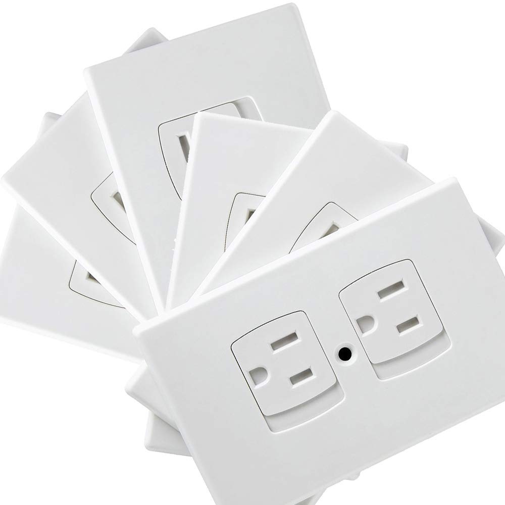 Baby Safety Self-Closing Electrical Outlet Covers | Alternative To Wall Socket Plugs Plate for Child Proofing | Automatic Sliding Guards Kit | House & Kitchen Protection Kit | BPA Free - 6 Pack, White by MomoCare