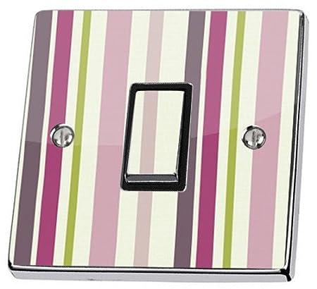 Ideco Matisse Stripe Plum Light Switch Sticker Vinyl Skin Cover Decal