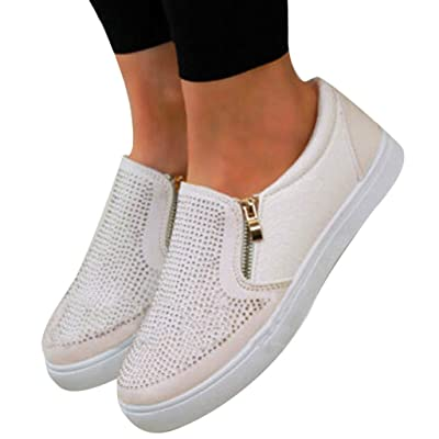Amlaiworld Women Casual Sneakers Flat Slip On Shoes Rhinestone Side Zipper Pumps Single Shoes: Clothing