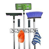 Home- It Mop and Broom Holder, 5 posiciones con 6 ganchos de almacenamiento en el garaje Con capacidad para hasta 11 herramientas, soluciones de almacenamiento para los porta escobas, sistemas de almacenamiento en el garaje organizador de escobas para