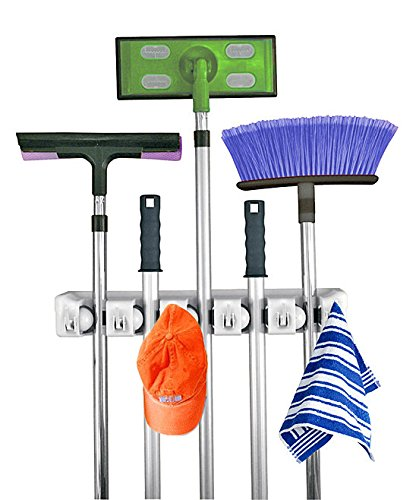 Mop and Broom Holder, 5 position with 6 hooks garage storage