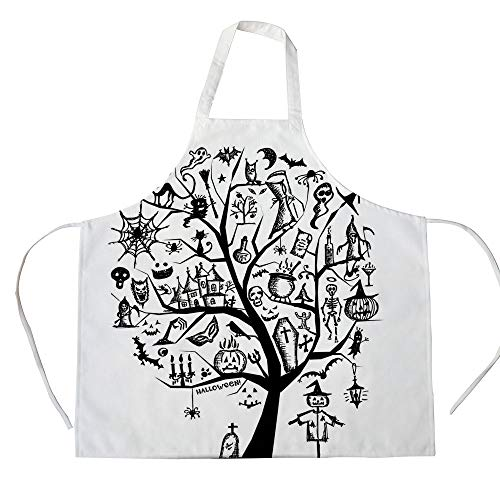 Halloween Decorations 3D Printed Cotton Linen Apron,Sketchy Spooky Tree with Spooky Decor Objects and Wicked Witch Broom,for Cooking Baking Gardening,Black White]()